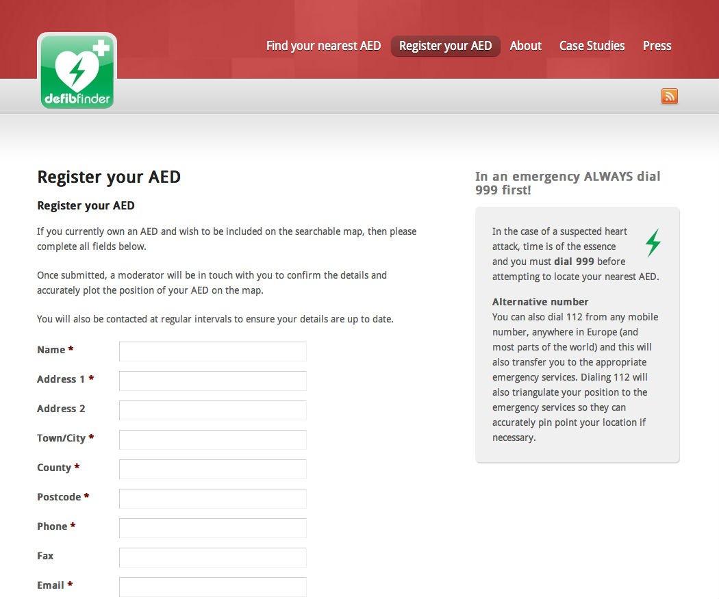 Defib Finder Wordpress website