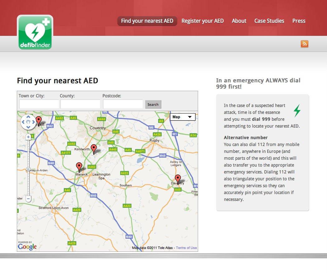 Defib Finder Wordpress website - site search