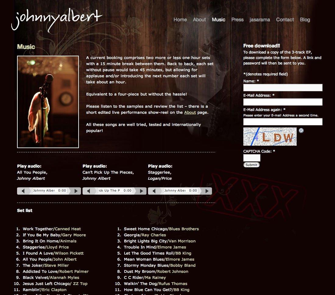 Johnny Albert Wordpress website - music