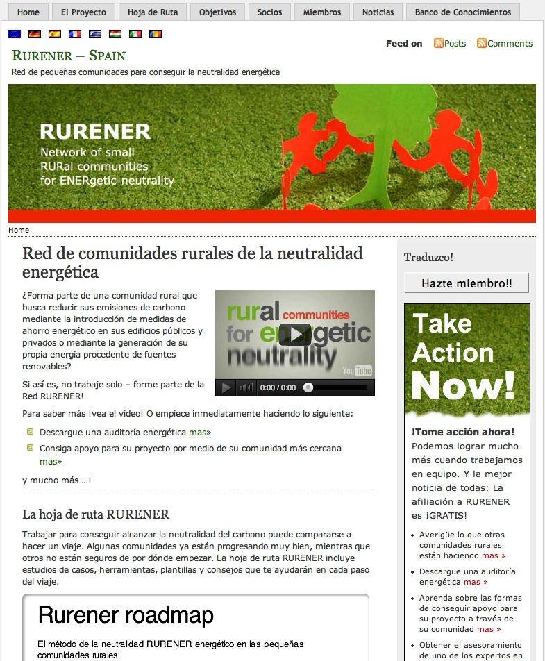 Rurener Wordpress website - Spanish homepage