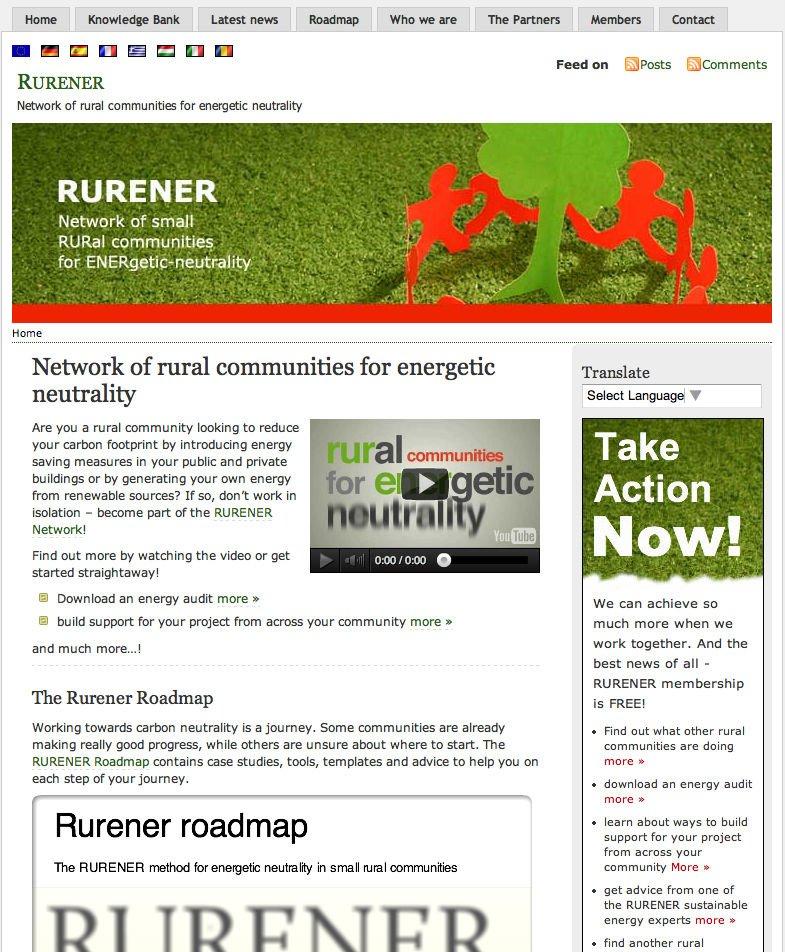 Rurener Wordpress website - EU homepage