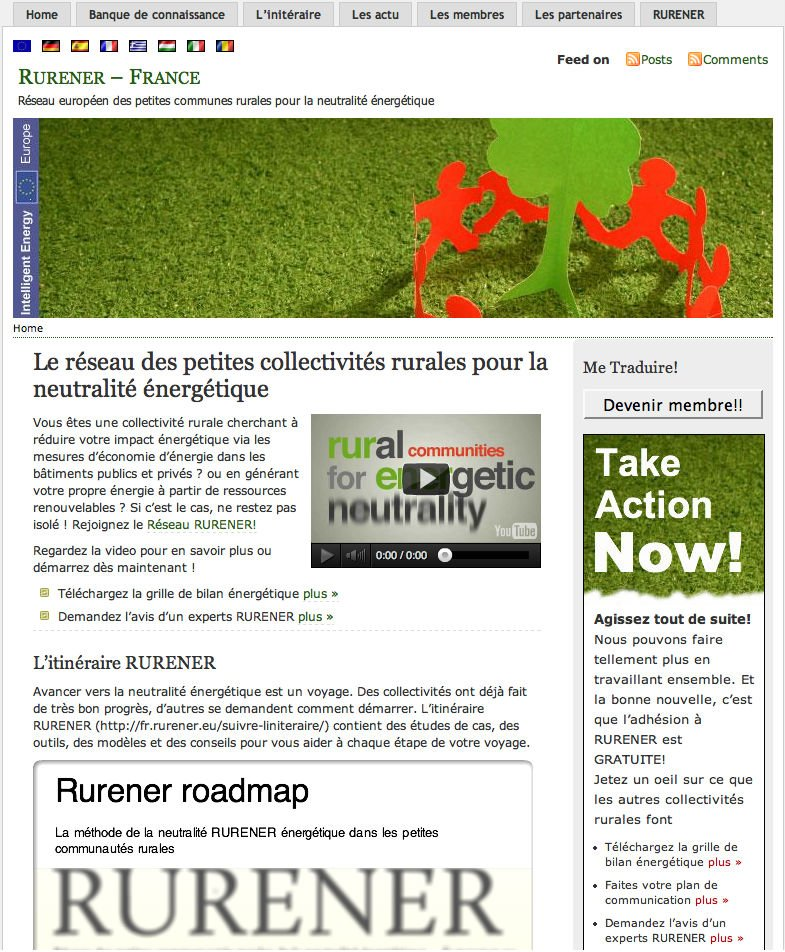 Rurener Wordpress website - French homepage