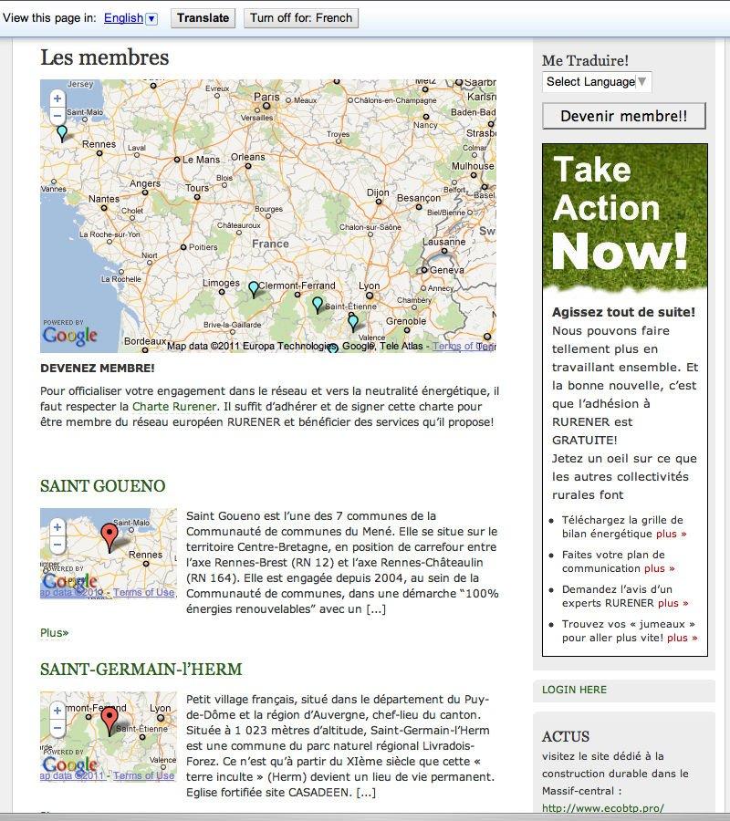 Rurener Wordpress website - French community profile