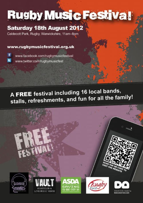 A3 and A2 posters for Rugby Music Festival