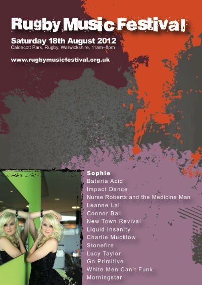 A5 flyer (front) for Rugby Music Festival